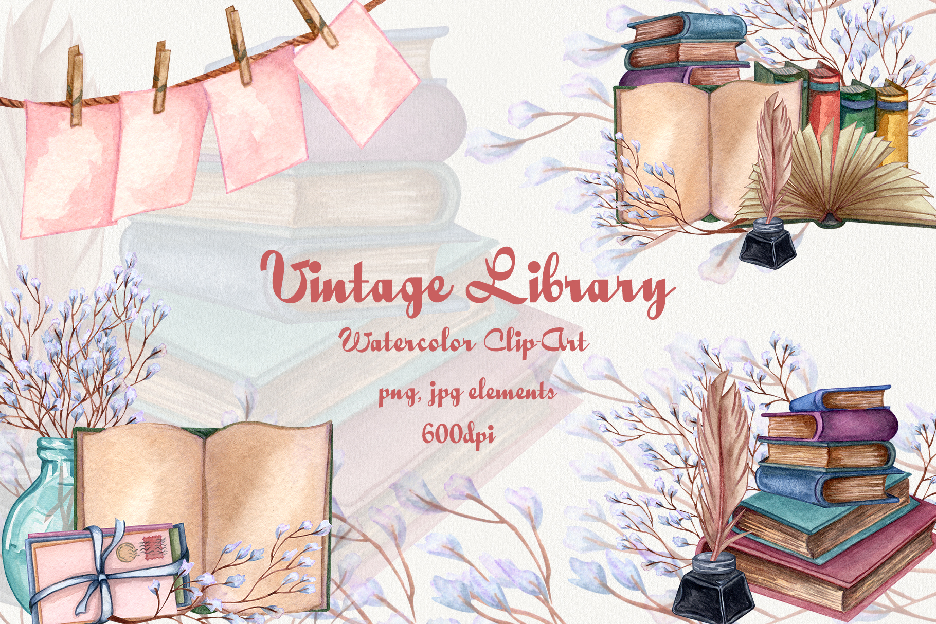 Download Free Vintage Library Watercolor Clip Art Set Graphic By Barvart for Cricut Explore, Silhouette and other cutting machines.