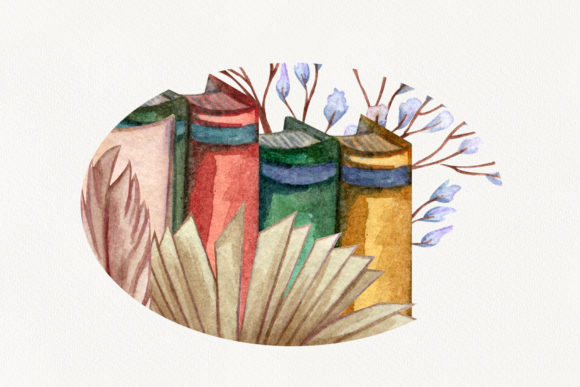 Vintage Library. Watercolor Clip-Art Set Graphic Illustrations By BarvArt - Image 12