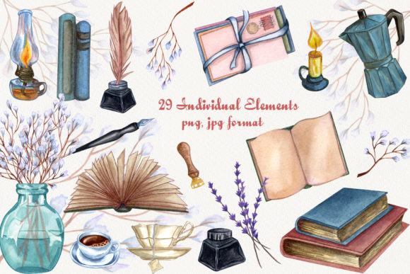 Vintage Library. Watercolor Clip-Art Set Graphic Illustrations By BarvArt - Image 2