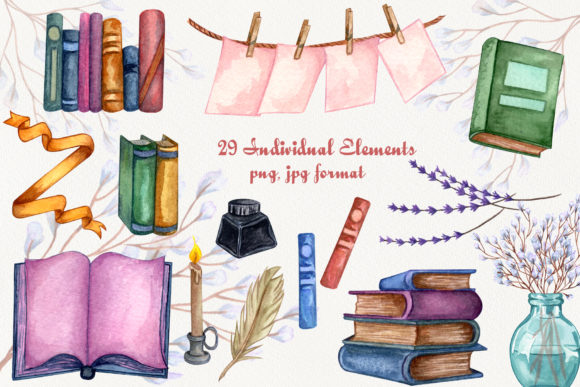 Vintage Library. Watercolor Clip-Art Set Graphic Illustrations By BarvArt - Image 3
