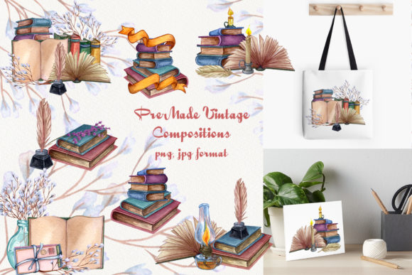Vintage Library. Watercolor Clip-Art Set Graphic Illustrations By BarvArt - Image 4