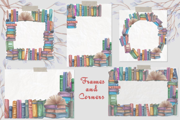 Vintage Library. Watercolor Clip-Art Set Graphic Illustrations By BarvArt - Image 8