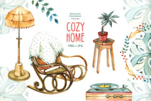 Watercolor Cozy Home Clipart Graphic Illustrations By NataliMyaStore