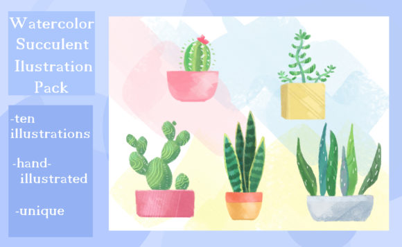 Print on Demand: Watercolor Succulent / Cactus Art Pack Gráfico Ilustraciones Por madelinehaleart