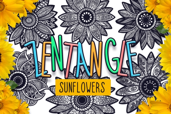 Download Free Zentangle Sunflower Pack Graphic By Craft N Cuts Creative Fabrica for Cricut Explore, Silhouette and other cutting machines.