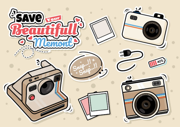 Camera Clipart Icon Doodle Set Graphic Illustrations By ABs