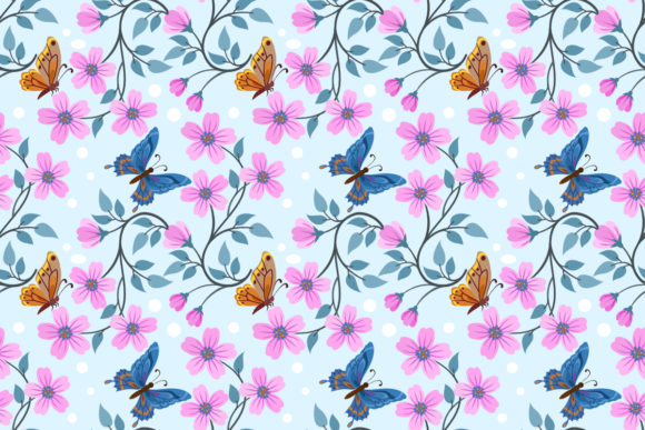 Download Free Flowers And Butterfly Seamless Pattern Graphic By Ranger262 for Cricut Explore, Silhouette and other cutting machines.