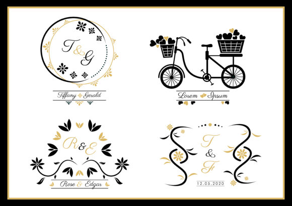 Wedding Monogram Template Icon Set Graphic Crafts By ABs