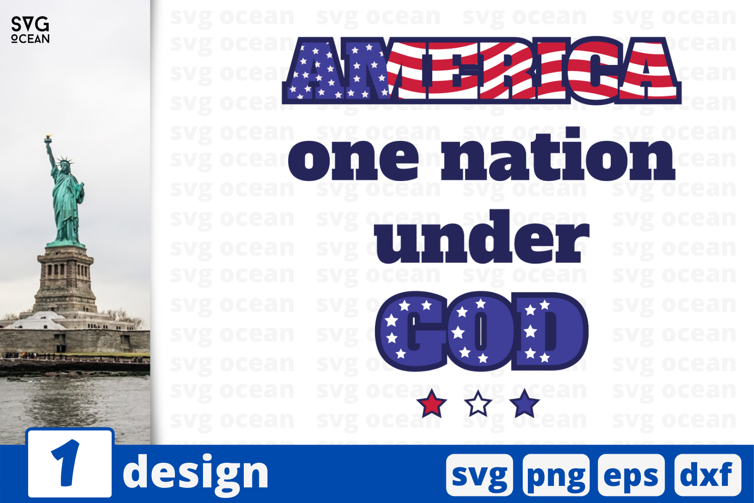 Download Free 1 America One Nation Under God Graphic By Svgocean Creative for Cricut Explore, Silhouette and other cutting machines.