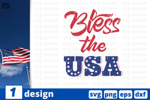 Download Free Bless The Usa Graphic By Svgocean Creative Fabrica for Cricut Explore, Silhouette and other cutting machines.