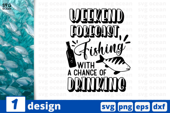 Print on Demand: Fishing with a Chance of Drinking Graphic Print Templates By SvgOcean