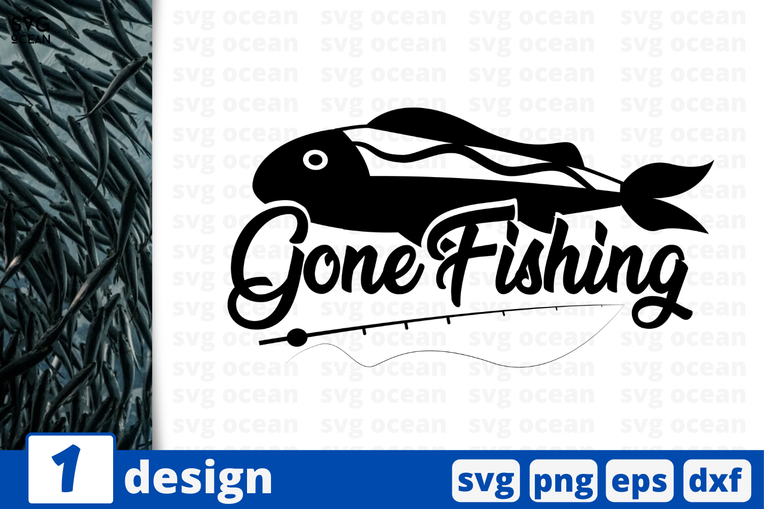 Download Free Gone Fishing Graphic By Svgocean Creative Fabrica for Cricut Explore, Silhouette and other cutting machines.
