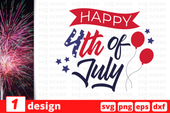 Download Free Happy 4th Of July Graphic By Svgocean Creative Fabrica for Cricut Explore, Silhouette and other cutting machines.