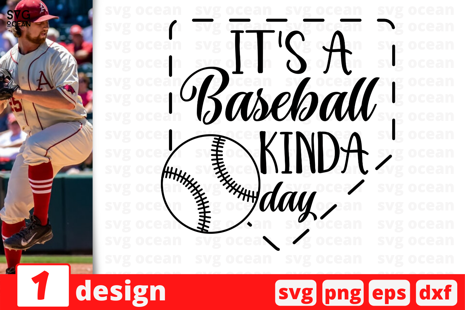 Download Free It S A Baseball Kinda Day Graphic By Svgocean Creative Fabrica for Cricut Explore, Silhouette and other cutting machines.
