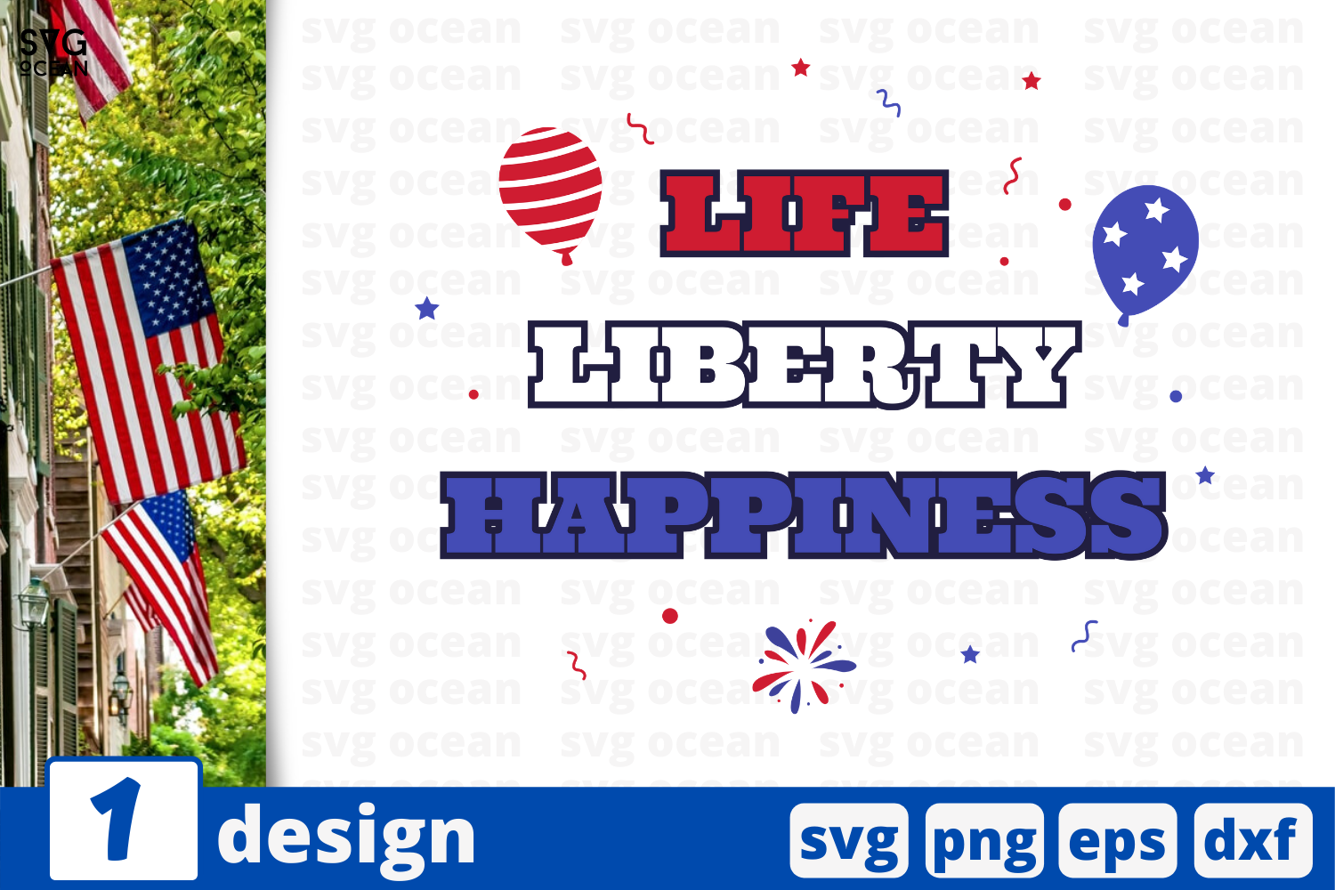 Download Free Life Liberty Happiness Graphic By Svgocean Creative Fabrica for Cricut Explore, Silhouette and other cutting machines.