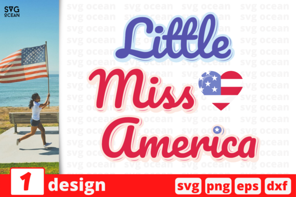Download Free Little Miss America Graphic By Svgocean Creative Fabrica for Cricut Explore, Silhouette and other cutting machines.