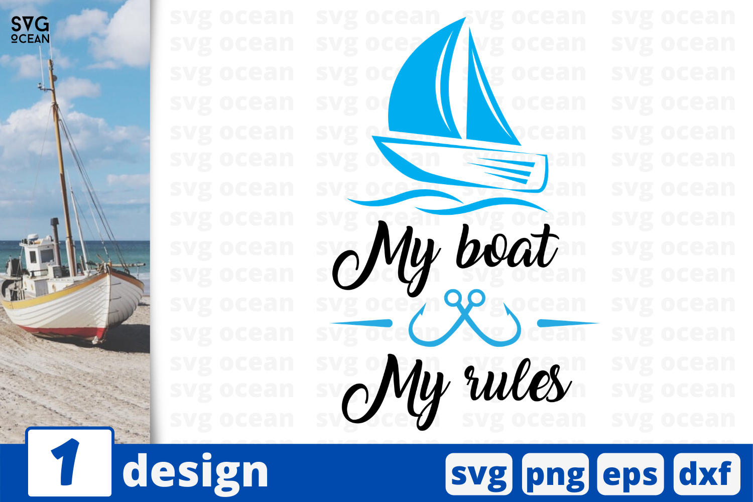 Download Free My Boat My Rules Graphic By Svgocean Creative Fabrica for Cricut Explore, Silhouette and other cutting machines.