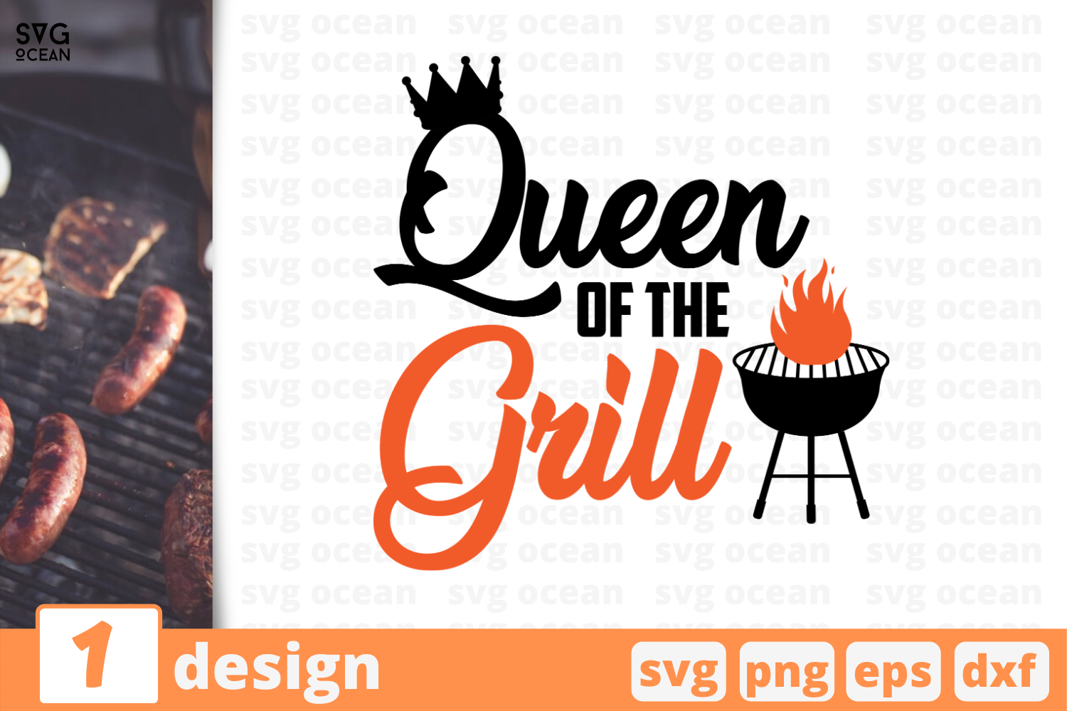 Download Free Queen Of The Grill Graphic By Svgocean Creative Fabrica for Cricut Explore, Silhouette and other cutting machines.