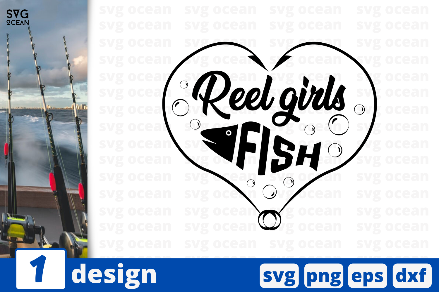 Download Free Reel Girls Fish Graphic By Svgocean Creative Fabrica for Cricut Explore, Silhouette and other cutting machines.