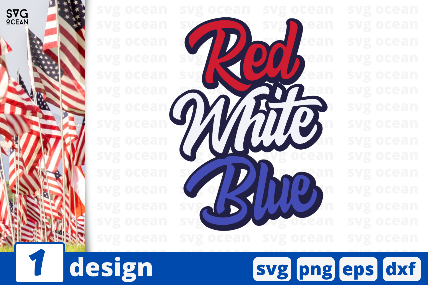 Download Free Red White Blue Graphic By Svgocean Creative Fabrica for Cricut Explore, Silhouette and other cutting machines.