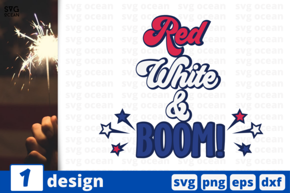 Download Free 1 Red White Boom Svg Bundle Graphic By Svgocean Creative Fabrica SVG Cut Files
