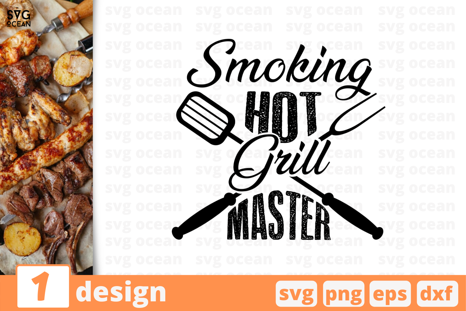 Download Free Smoking Hot Grill Master Graphic By Svgocean Creative Fabrica for Cricut Explore, Silhouette and other cutting machines.