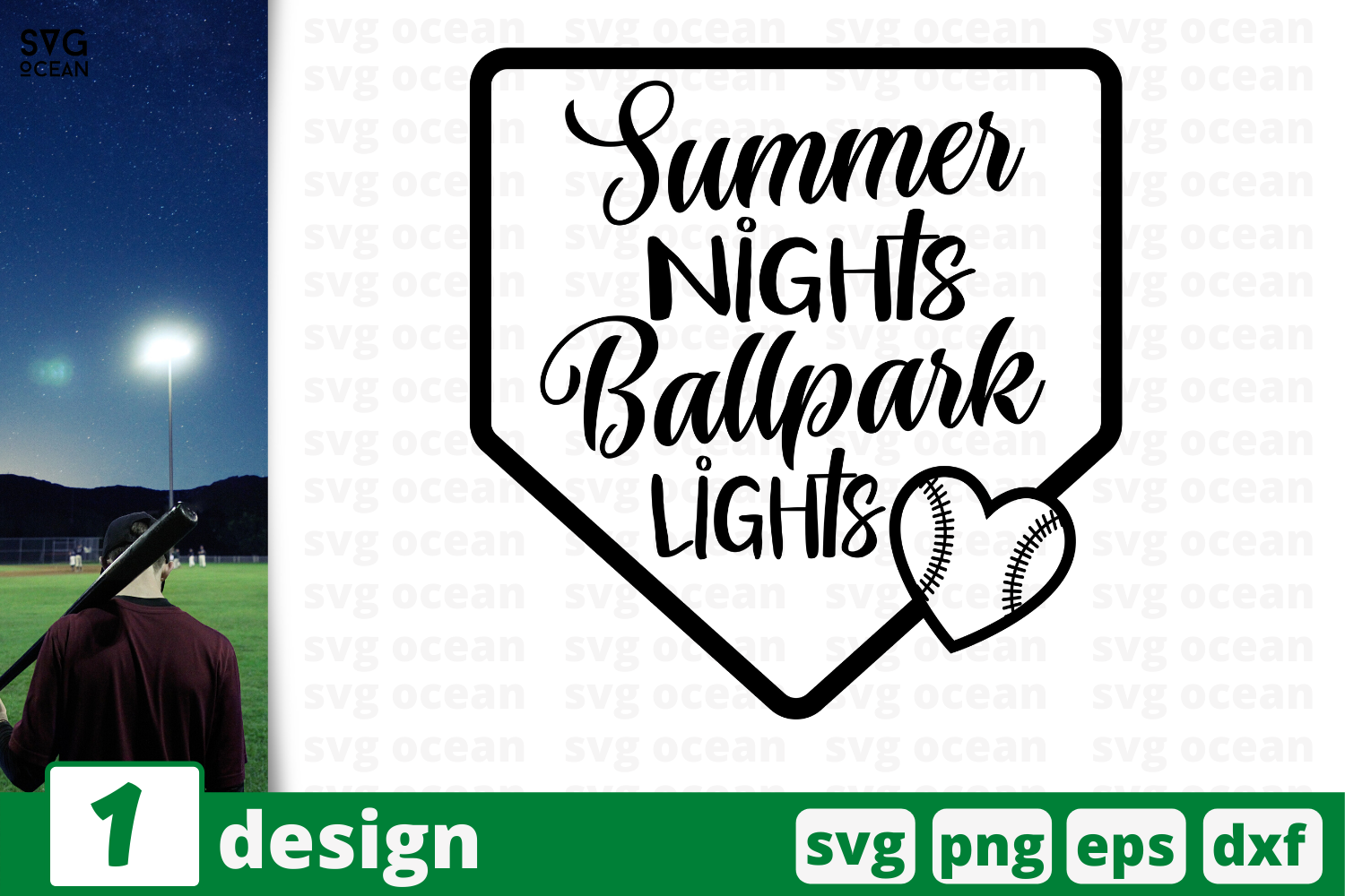Download Free Summer Nights Ballpark Lights Graphic By Svgocean Creative Fabrica for Cricut Explore, Silhouette and other cutting machines.
