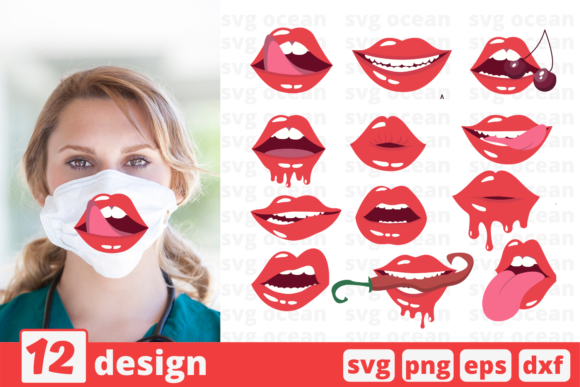 Download Free 12 Lips Bundle Graphic By Svgocean Creative Fabrica for Cricut Explore, Silhouette and other cutting machines.