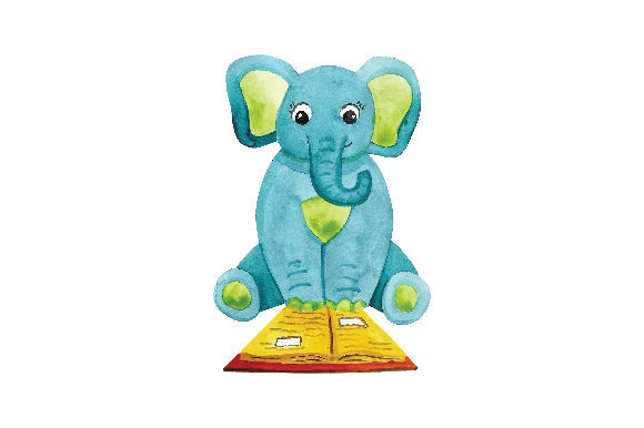 Download Free Baby Elephant Reading Book Svg Cut File By Creative Fabrica for Cricut Explore, Silhouette and other cutting machines.
