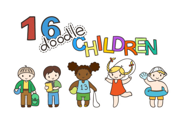 Print on Demand: 16 Cute Children in Doodle Style Graphic Icons By Drekhann