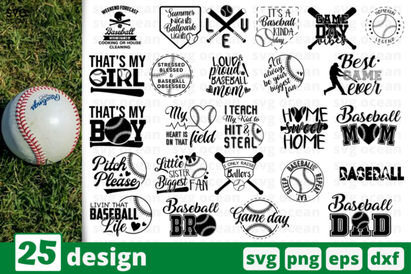 Print on Demand: 24 Baseball Quotes Bundle Graphic Print Templates By SvgOcean