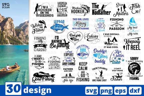 Download Free 30 Fishing Quotes Bundle Graphic By Svgocean Creative Fabrica SVG Cut Files