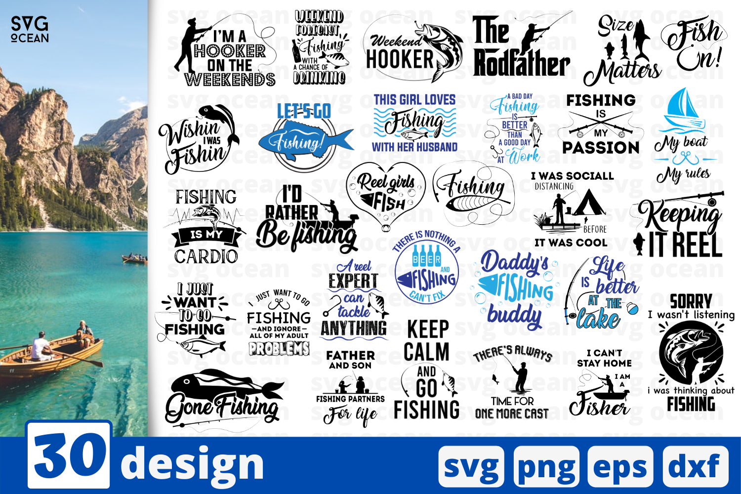 Download Free 30 Fishing Quotes Bundle Grafik Von Svgocean Creative Fabrica for Cricut Explore, Silhouette and other cutting machines.