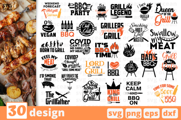 Download Free 30 Grill Bundle Quotes Graphic By Svgocean Creative Fabrica for Cricut Explore, Silhouette and other cutting machines.