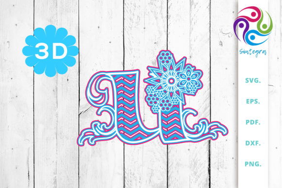 Print on Demand: 3D Multilayer Floral Chevron Letter U Graphic 3D SVG By Sintegra