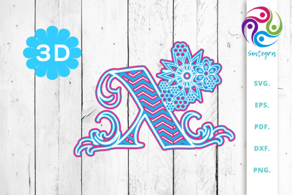 Download Free 3d Multilayer Floral Chevron Letter X Graphic By Sintegra for Cricut Explore, Silhouette and other cutting machines.