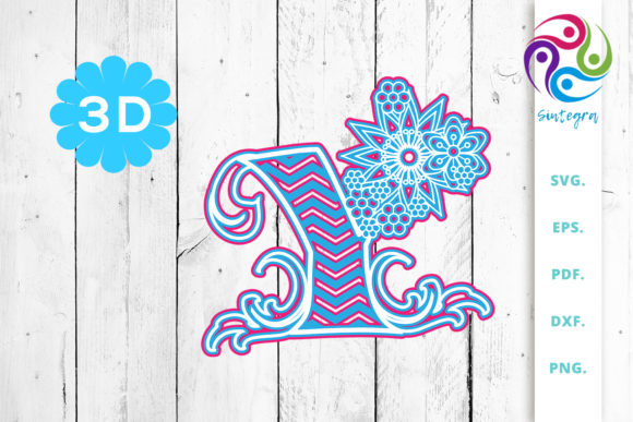 Download Free 3d Multilayer Floral Chevron Letter W Graphic By Sintegra Creative Fabrica for Cricut Explore, Silhouette and other cutting machines.