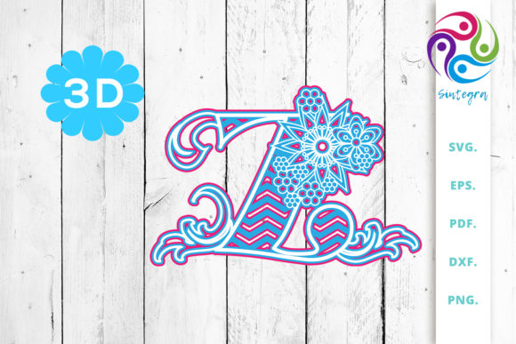 Print on Demand: 3D Multilayer Floral Chevron Letter Z Graphic 3D SVG By Sintegra