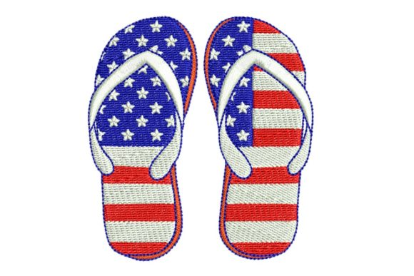 4th July Flip-Flops Independence Day Embroidery Design By BabyNucci Embroidery Designs
