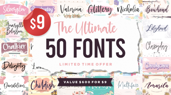 Print on Demand: The Ultimate 50 Fonts Bundle  von Balpirick