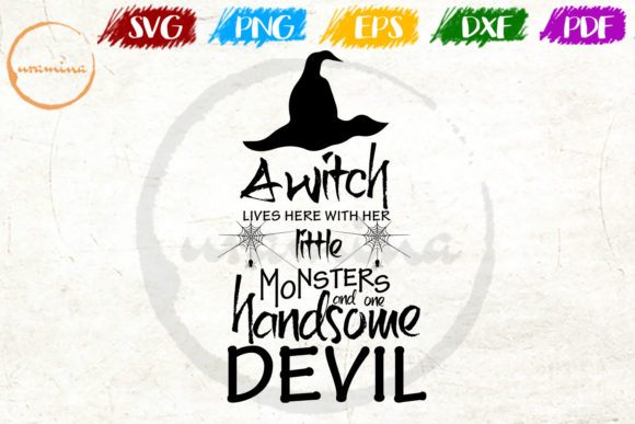 Download Free A Witch Little Monsters Handsome Devil Graphic By Uramina for Cricut Explore, Silhouette and other cutting machines.