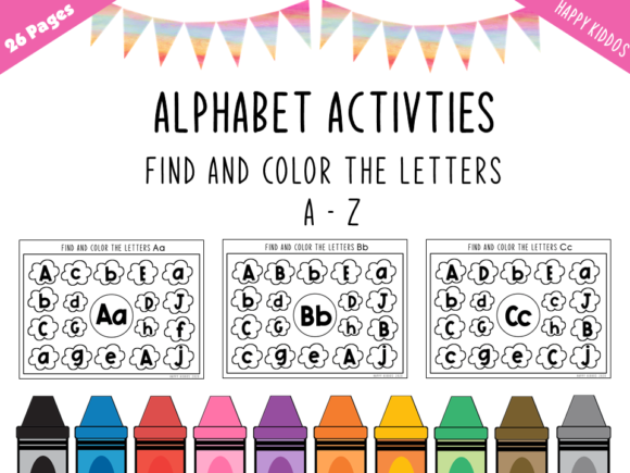 Alphabet Activities: Find the Letters Graphic K By Happy Kiddos