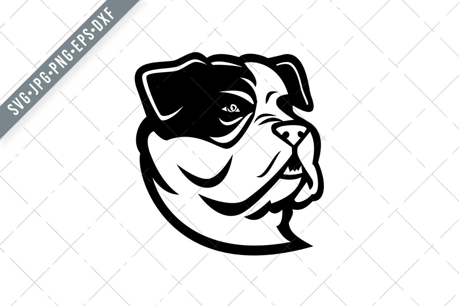 Download Free American Bully Bulldog Head Mascot Graphic By Patrimonio for Cricut Explore, Silhouette and other cutting machines.