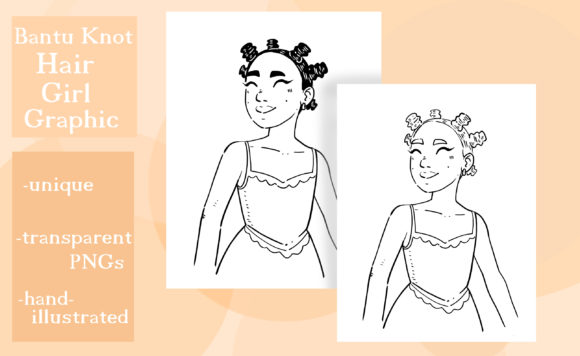 Download Free Bantu Knot Hair Girl Graphic Graphic By Madelinehaleart for Cricut Explore, Silhouette and other cutting machines.