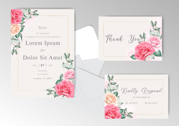 Download Free Beautiful Floral Wedding Invitation Set Graphic By Federiqoend for Cricut Explore, Silhouette and other cutting machines.