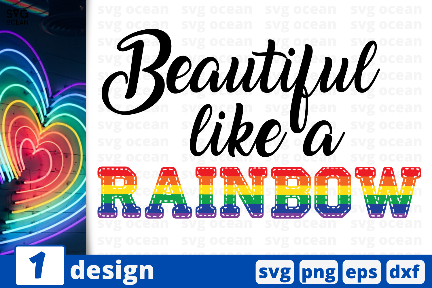 Download Free Beautiful Like A Rainbow Graphic By Svgocean Creative Fabrica for Cricut Explore, Silhouette and other cutting machines.