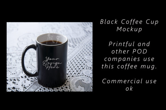 Print on Demand: Black Coffee Cup Mockup Graphic Food & Drinks By A Design in Time