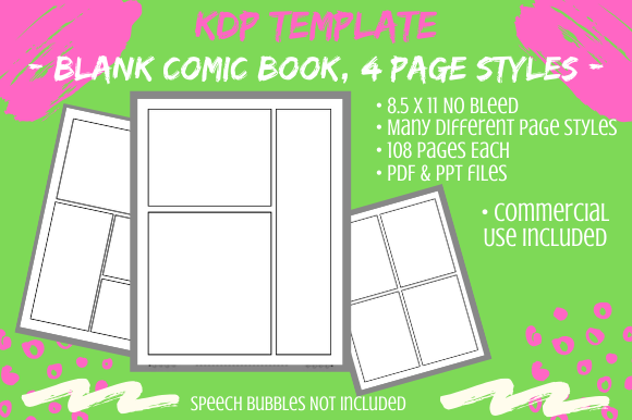 Print on Demand: Blank Comic Book KDP Interior 108 Pages Graphic KDP Interiors By Tomboy Designs
