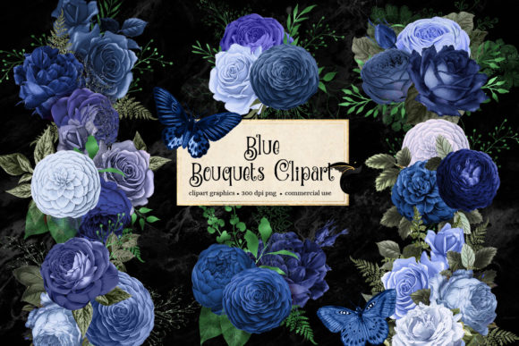 Print on Demand: Blue Bouquets Clipart Graphic Illustrations By Digital Curio