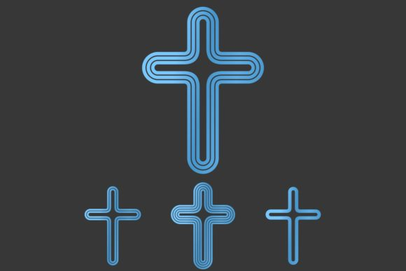 Download Free Blue Metallic Cross Logo Design Set Graphic By Davidzydd for Cricut Explore, Silhouette and other cutting machines.